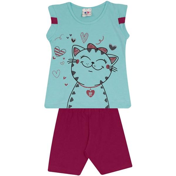 Conjunto Infantil Menina Blusa Gatinha Azul e Short Roxo
