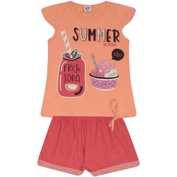 Conjunto Infantil Menina Blusa Laranja Fresh Soda e Short Vermelho
