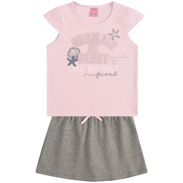 Conjunto Infantil de Menina Blusa Sereia + Saia Moletinho