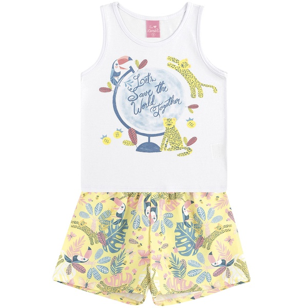 Conjunto Infantil de Menina Verão Regata + Short Estampado Tucano