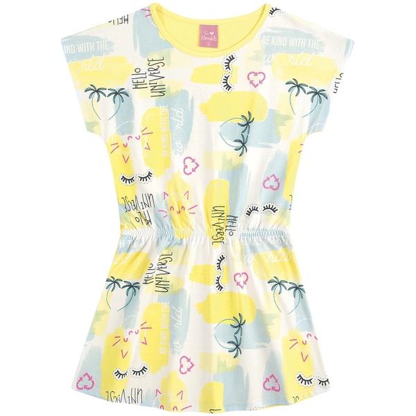 Vestido Infantil Kamylus Verão Estampado Amarelo