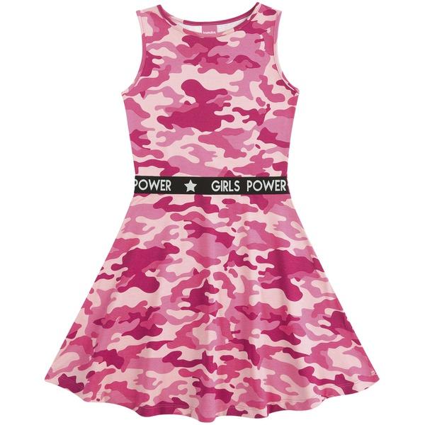 Vestido Teen Verão Kamylus Camuflado Rosa