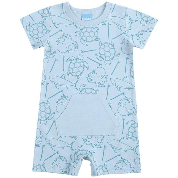 Macacão Bebê de Menino Verão Fundo do Mar Azul