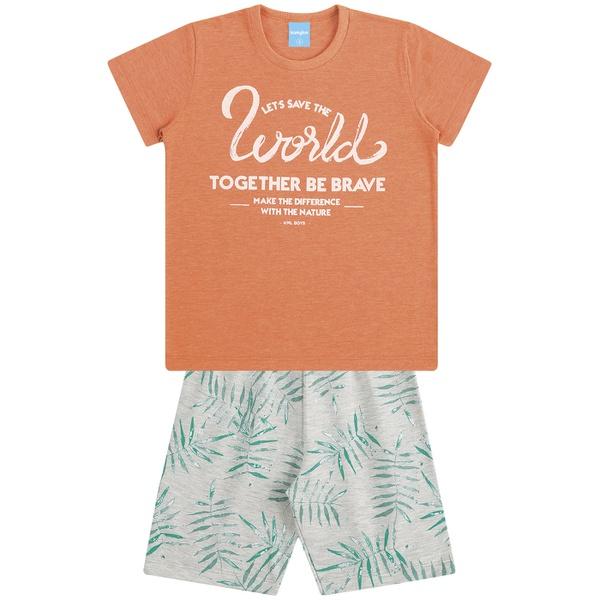 Conjunto Infantil Menino Camiseta Laranja Be Brave e Bermuda Folhagens