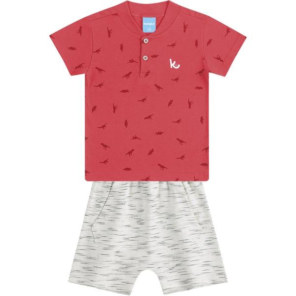 Conjunto Infantil Verão Menino Camiseta Vermelha Dinossauros e Short