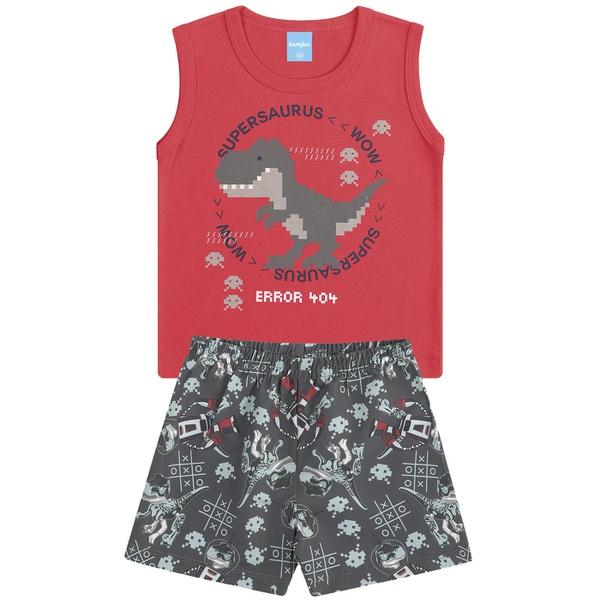 Conjunto Infantil Verão Menino Regata Vermelha Dino 8 Bits e Bermuda Cinza