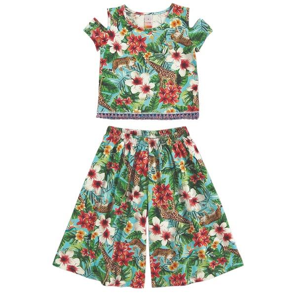 Conjunto infantil de Menina Pantacourt Estampa Floral