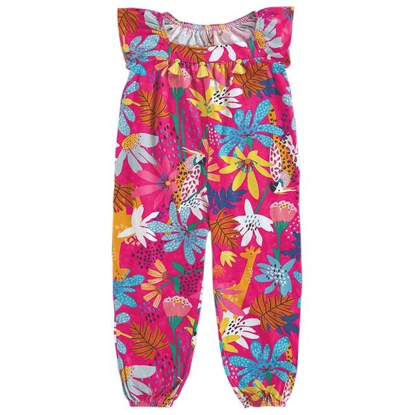 Macacão Infantil de Menina Floral Rosa