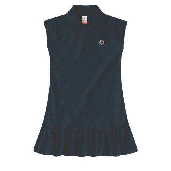 Vestido Polo Infantil de Menina Verão Azul Marinho