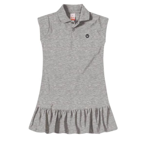 Vestido Polo Infantil de Menina Verão Cinza