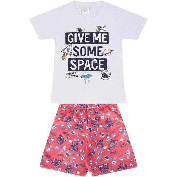 Conjunto Infantil Verão Menino Camiseta Branca Space e Bermuda Vermelha