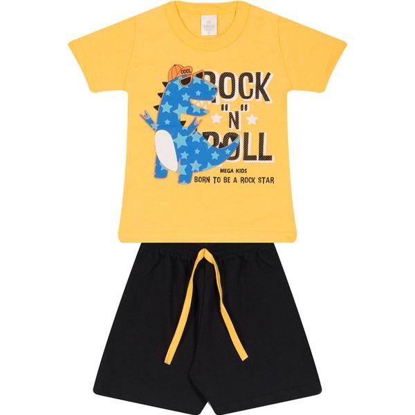 Conjunto Infantil Camiseta Amarela Dinossauro Rockstar e Bermuda Moletinho Preta