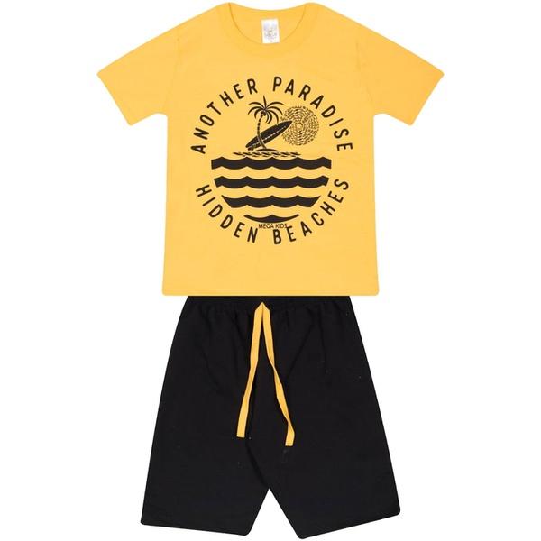 Conjunto Infantil Verão Menino Camiseta Amarela Paradise e Bermuda Preta