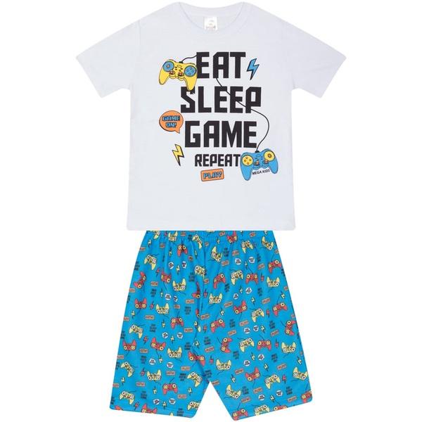 Conjunto Infantil Verão Menino Camiseta Branca Game e Bermuda Azul