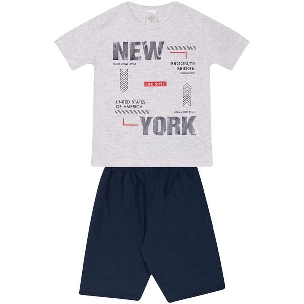 Conjunto Infantil Verão Menino Camiseta Cinza New York e Bermuda Marinho