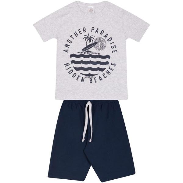 Conjunto Infantil Verão Menino Camiseta Cinza Paradise e Bermuda Marinho