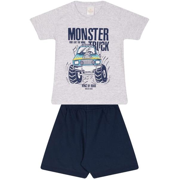 Conjunto Infantil Verão Menino Camiseta Cinza Monster Truck e Bermuda Marinho