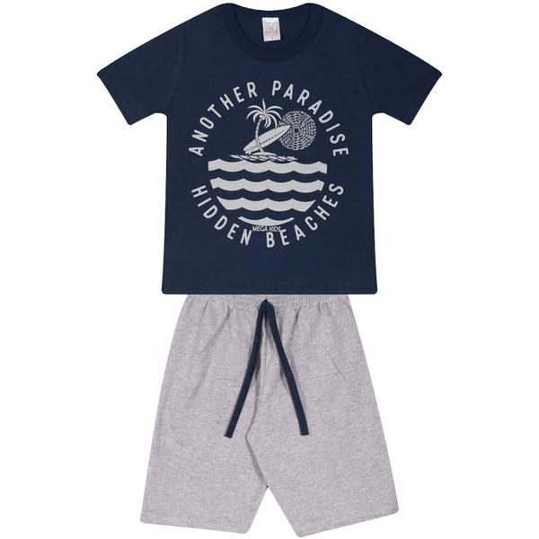 Conjunto Infantil Verão Menino Camiseta Marinho Paradise e Bermuda Cinza