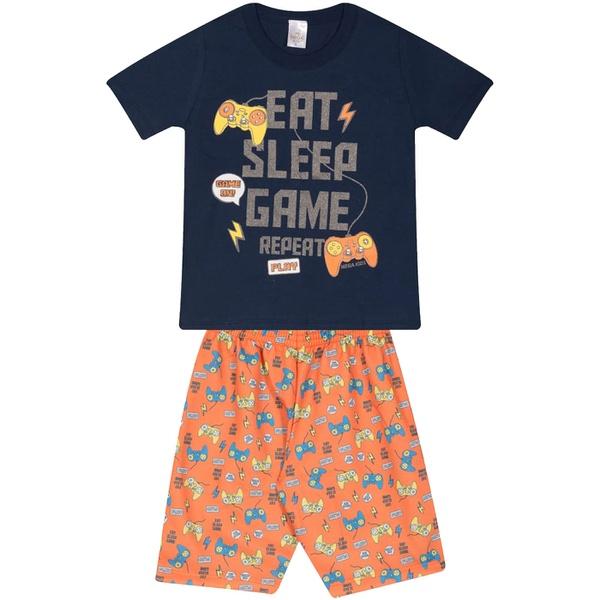 Conjunto Infantil Verão Menino Camiseta Marinho Game e Bermuda Laranja
