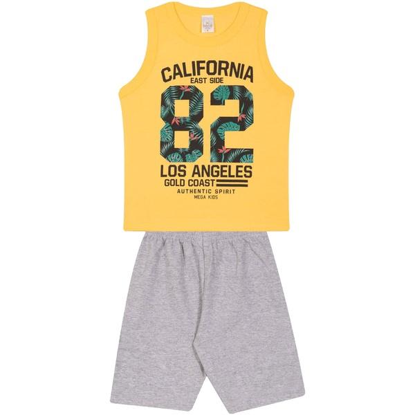 Conjunto Infantil Verão Menino Regata Amarela Los Angeles e Bermuda Cinza