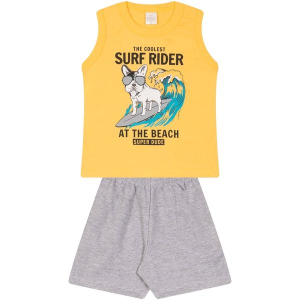 Conjunto Infantil Verão Menino Regata Amarela Dog Surfista e Bermuda Cinza