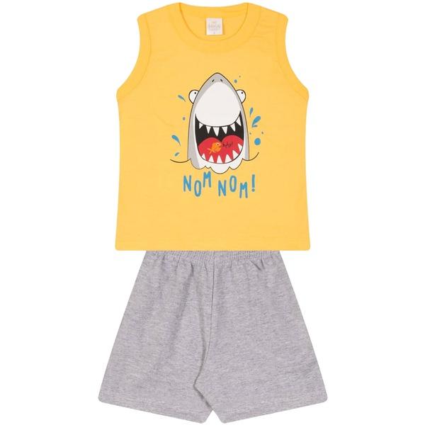 Conjunto Infantil Verão Menino Regata Amarela Shark e Bermuda Cinza