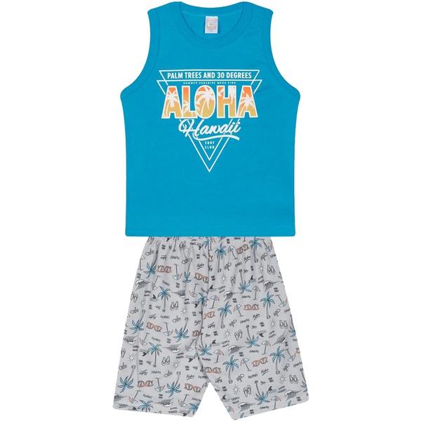 Conjunto Infantil Verão Menino Regata Azul Aloha e Bermuda Havaí Cinza