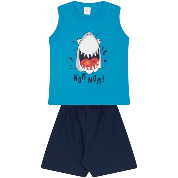 Conjunto Infantil Verão Menino Regata Azul Shark e Bermuda Marinho