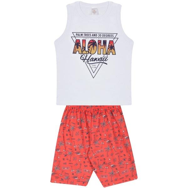 Conjunto Infantil Verão Menino Regata Branca Aloha e Bermuda Havaí Laranja