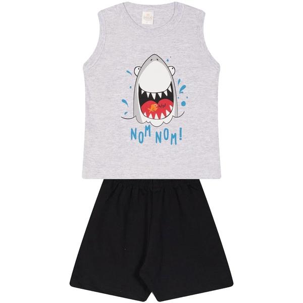 Conjunto Infantil Verão Menino Regata Cinza Shark e Bermuda Preta