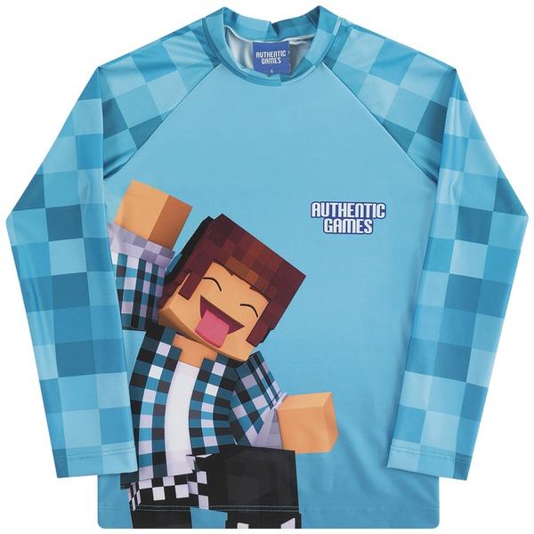 Camiseta Infantil Kamylus Menino Manga Longa com Proteção UV 50 Azul Authentic Games Minecraft