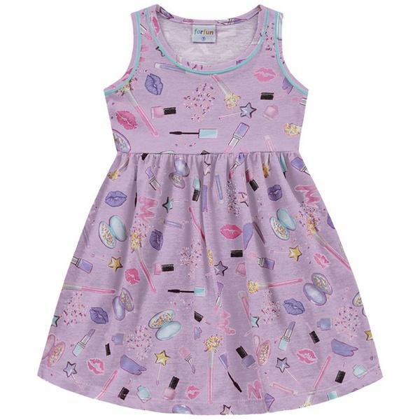 Vestido Infantil Fakini Menina com Alças e Estampa Maquiagem Violeta