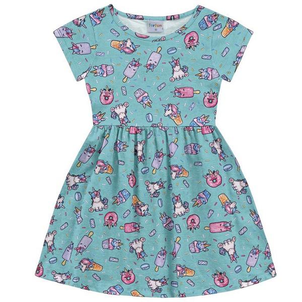 Vestido Infantil Fakini Menina Manga Curta com Estampa Unicórnios Azul Claro
