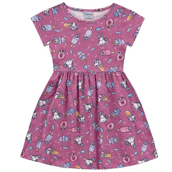 Vestido Infantil Fakini Menina Manga Curta com Estampa Unicórnios Pink