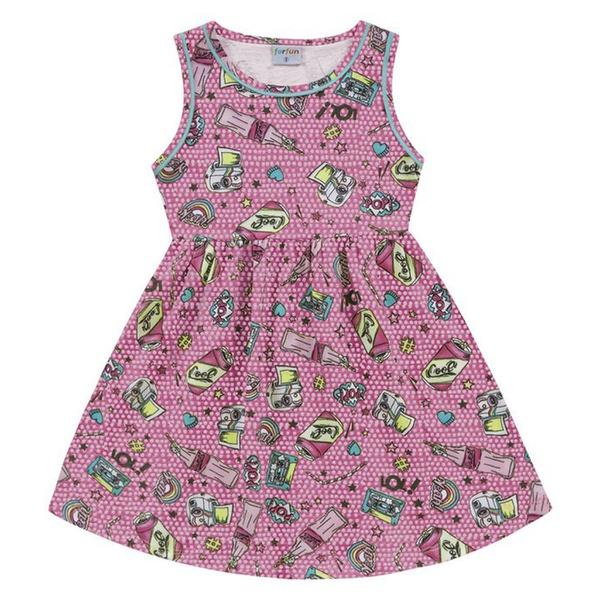 Vestido Infantil Fakini Menina Alcinhas com Estampa LOL! Rosa