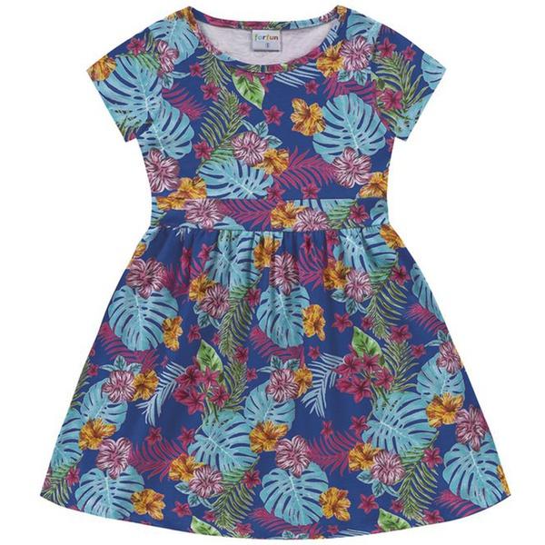 Vestido Infantil Fakini Menina Manga Curta com Estampa Floral Azul