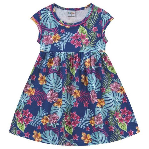 Vestido Infantil Fakini Menina Manguinha com Estampa Floral Azul