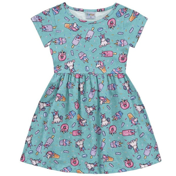 Vestido Infantil Fakini Menina Manga Curta com Estampa Unicórnio Azul Turquesa