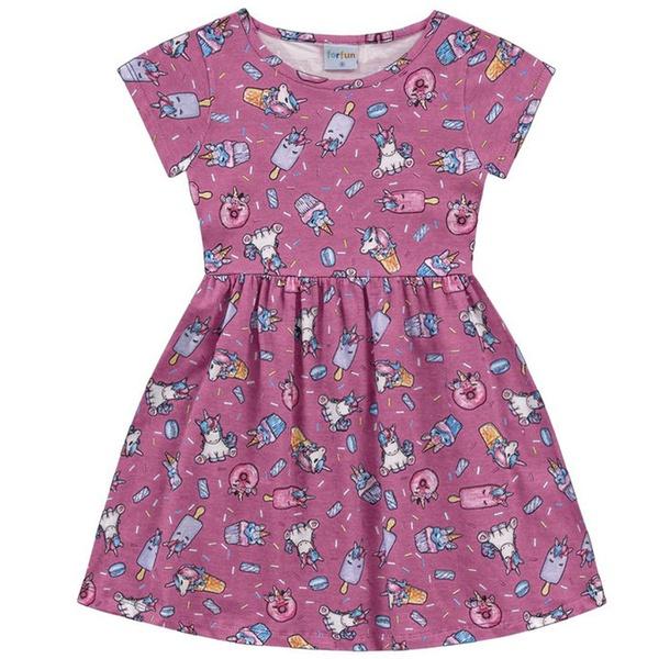 Vestido Infantil Fakini Menina Manga Curta com Estampa Unicórnio Rosa