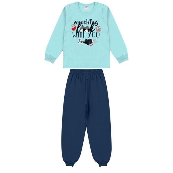 Conjunto Infantil Inverno de Menina Coração Azul Claro
