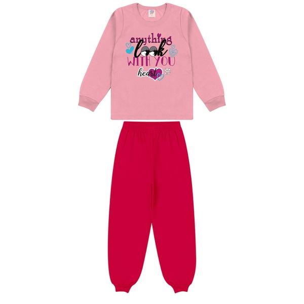 Conjunto Infantil Inverno de Menina Coração Rosa Claro