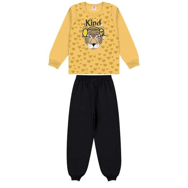 Conjunto Infantil Inverno de Menina Tigre Amarelo