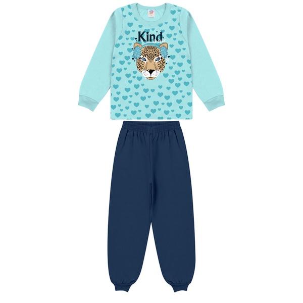 Conjunto Infantil Inverno de Menina Tigre Azul Claro