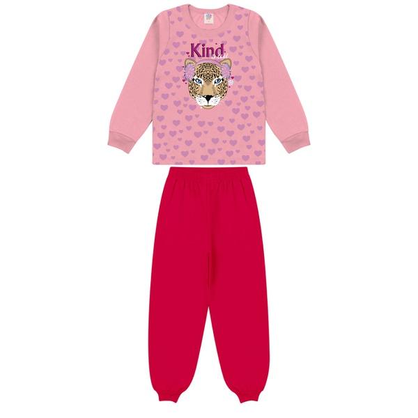 Conjunto Infantil Inverno de Menina Tigre Rosa Claro