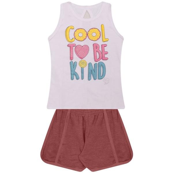 Conjunto Infantil Verão Menina To Be Kind Branco