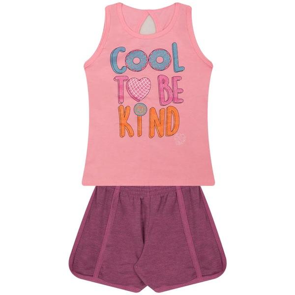 Conjunto Infantil Verão Menina To Be Kind Rosa