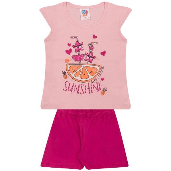 Conjunto Infantil Menina Verão Blusa Rosa Claro + Short Pink Happy Summer