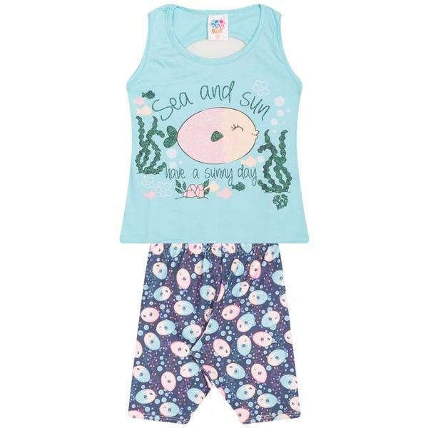 Conjunto Infantil Menina Verão Peixinho Azul