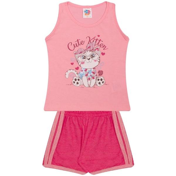 Conjunto Infantil Menina Verão Regata Rosa + Short Chumbo Gatinho