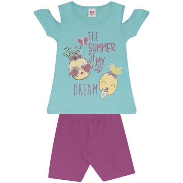 Conjunto Infantil Menina Blusa Azul Summer Dreams e Short Roxo
